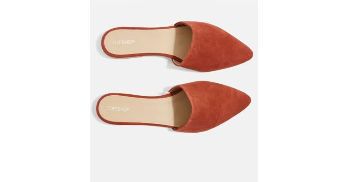 c59a13a46124 Lyst - TOPSHOP Angelina Flat Mule in Red