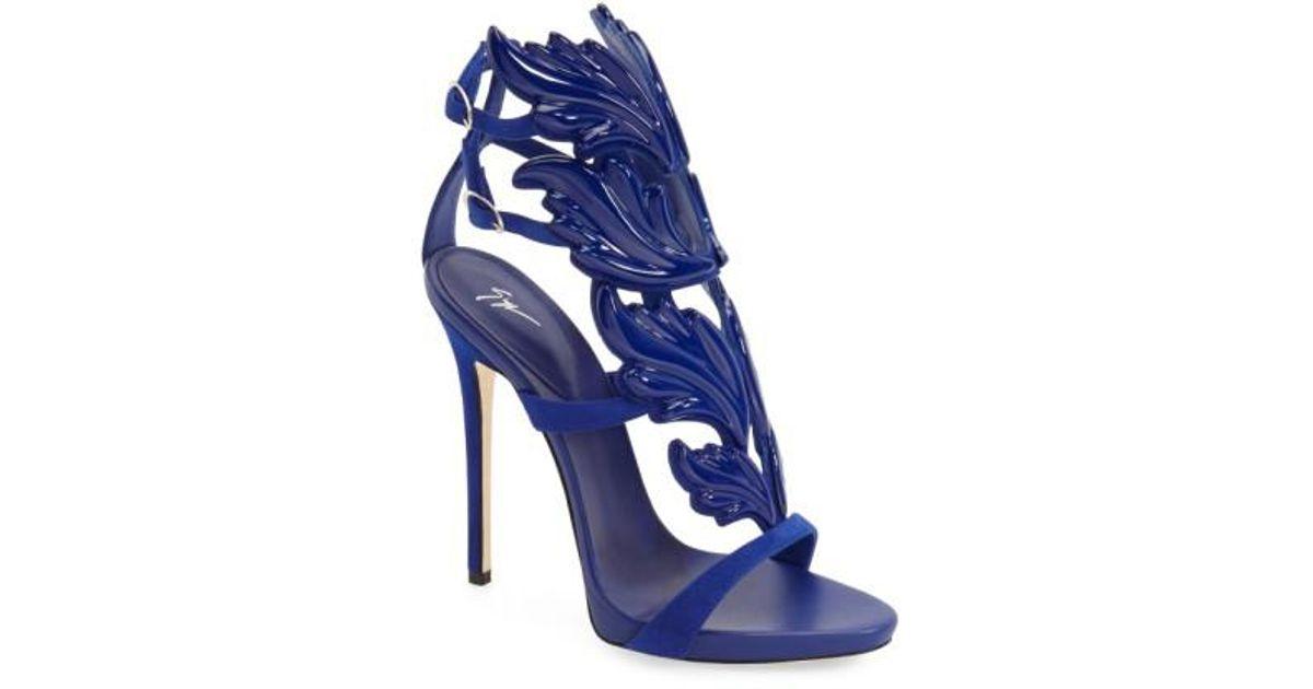 82afdc817da3 ... discount code for lyst giuseppe zanotti blue cruel wing sandal in blue  507d2 016a7