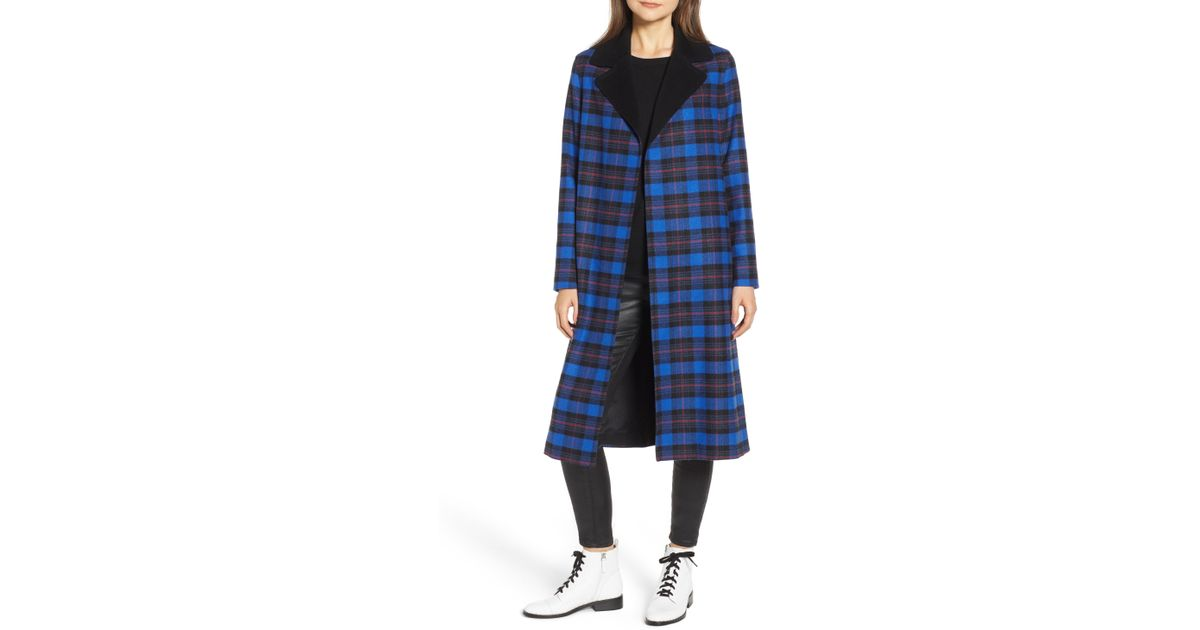 0e0c0ef32814 Helene Berman Ruth Plaid Contrast Collar Coat - Lyst