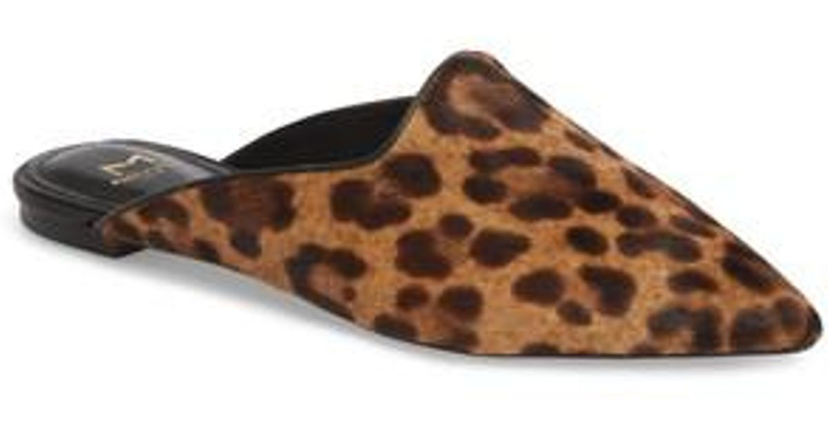 MARC FISHER Sheenly Leopard Print Calf Hair Mules