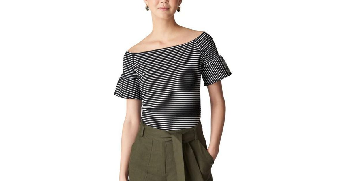 2bc5f7fae80ae0 Lyst - Whistles Stripe Off The Shoulder Top in Blue