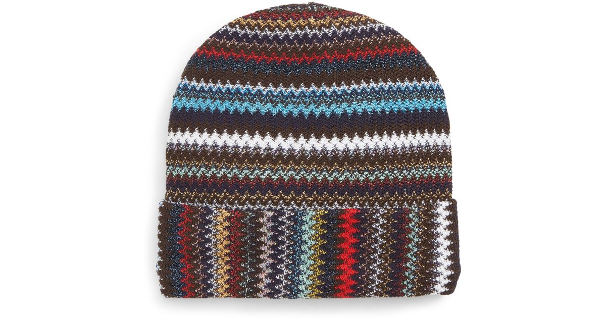Lyst - Missoni Knitted Beanie Hat in Black 1175bc843c69