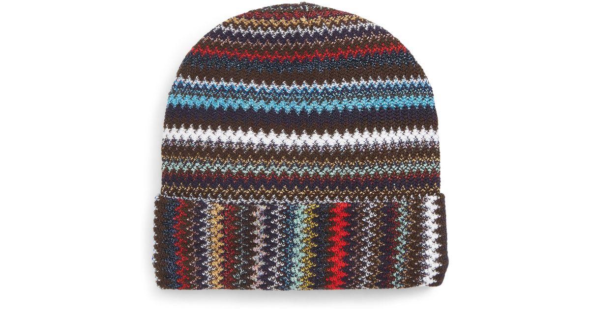 bea68b60309 Lyst - Missoni Knitted Beanie Hat in Black