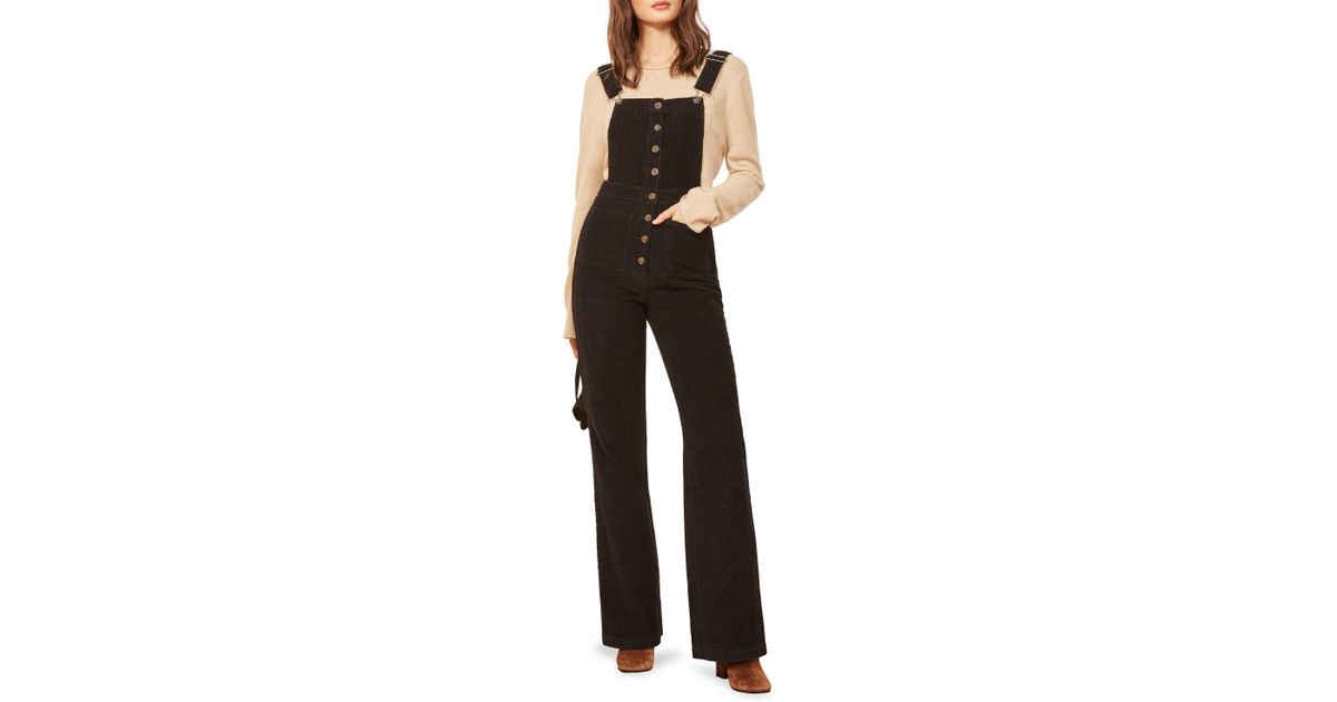 0e4ffe4ea094 Lyst - Reformation Cassidy Corduroy Overalls in Black - Save 35%
