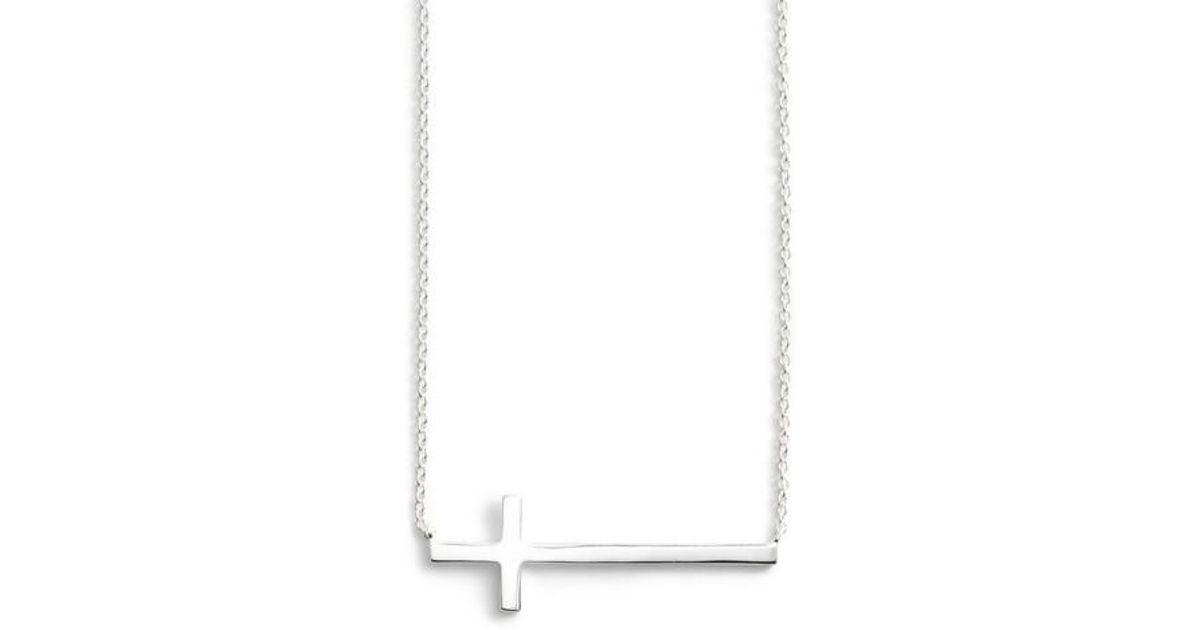 Lyst argento vivo modern sideways cross pendant necklace in metallic aloadofball Choice Image