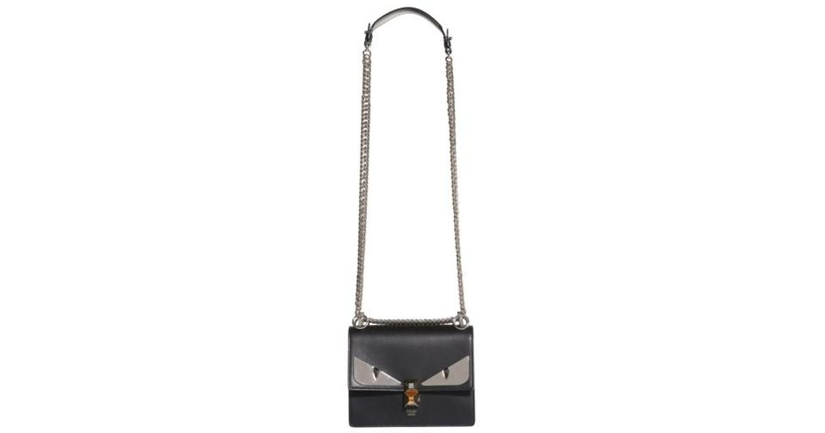 e3e6da471471 Lyst - Fendi Kan I Monster Leather Shoulder Bag in Black