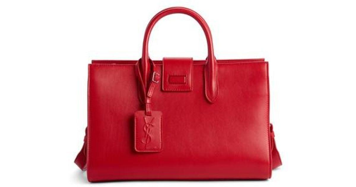 1e4c0d0453cb Lyst - Saint Laurent Medium Jane Cabas Leather Satchel in Red