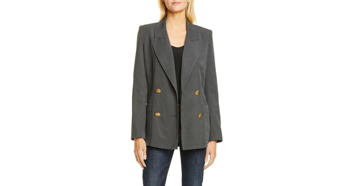 d3801cbe386f Smythe Unstructured Double Breasted Blazer in Gray - Lyst