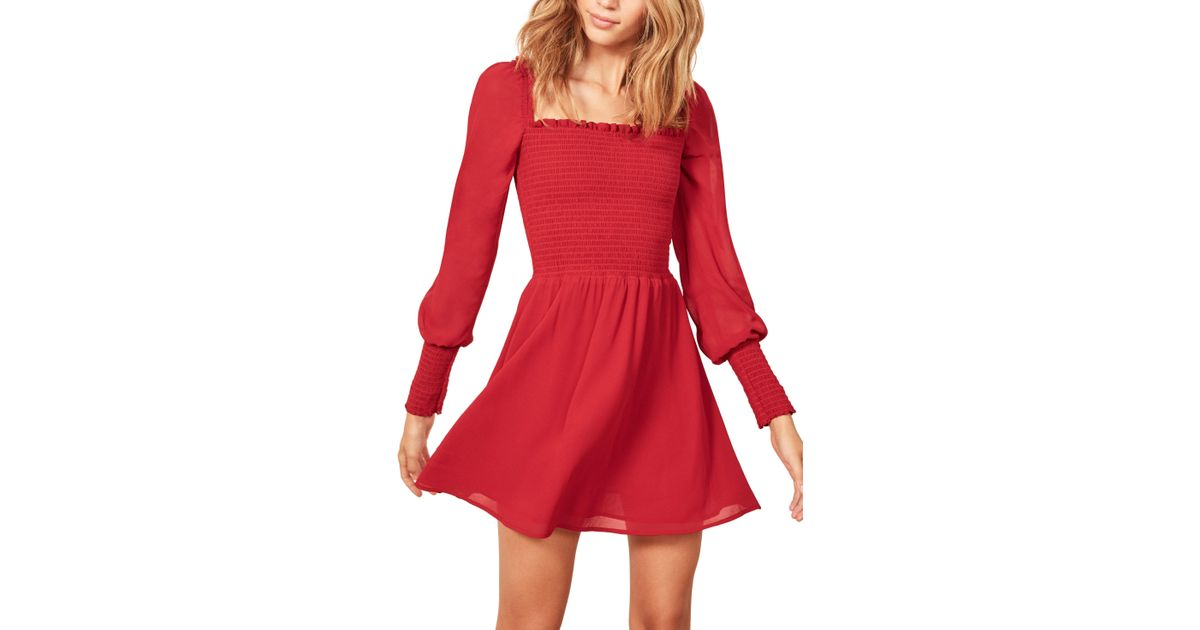 041b79570dfd Reformation Kelli Smocked Bodice Fit & Flare Minidress in Red - Lyst