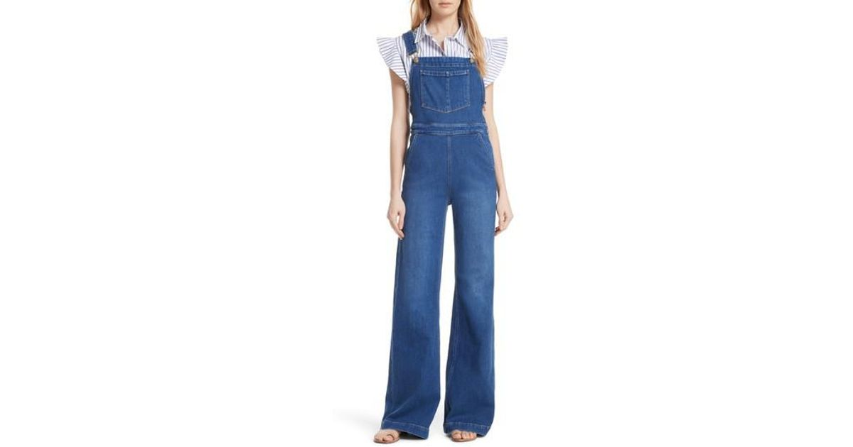 743c980db68 Lyst - FRAME Palazzo Wide Leg Denim Overalls in Blue