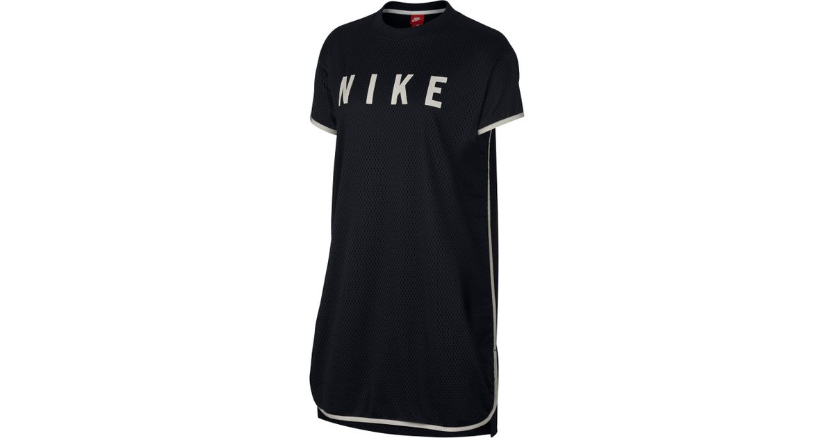 Lyst Nike Sportswear Short Sleeve Dri Fit Mesh T Shirt Dress In Black