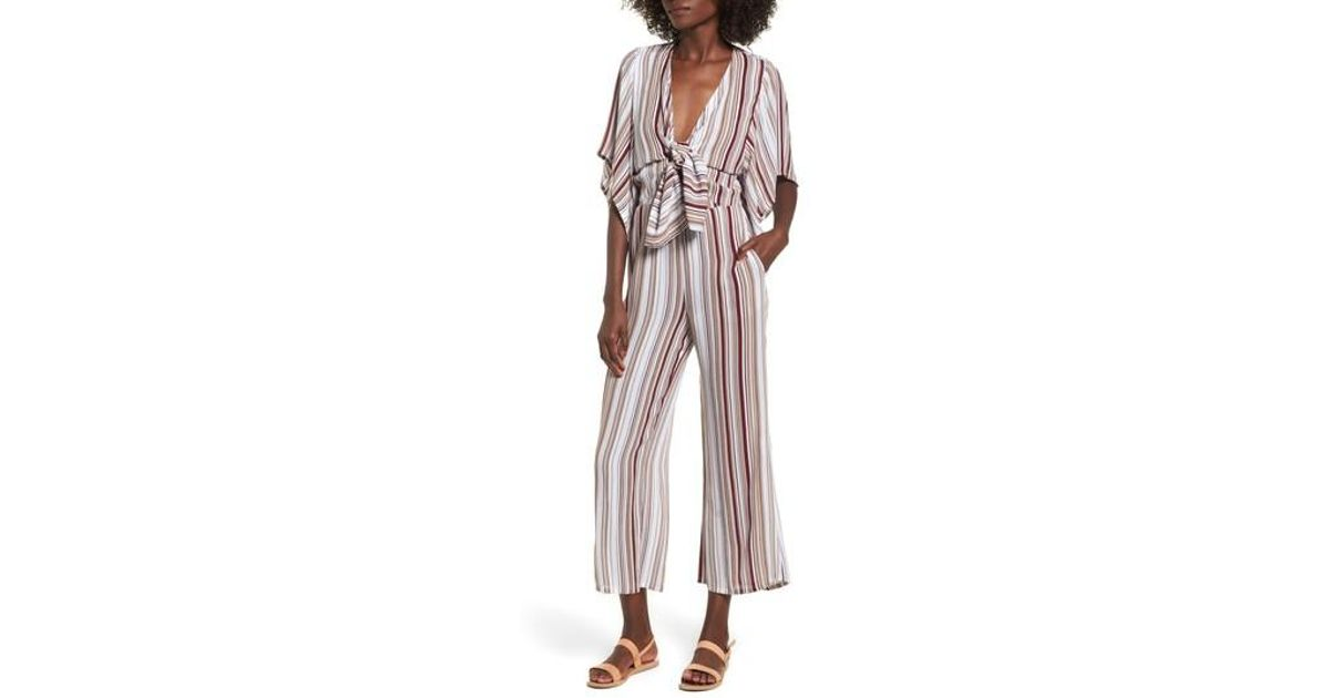 ef07a7e7b9f Lyst - Faithfull The Brand Tilos Stripe Knotted Jumpsuit