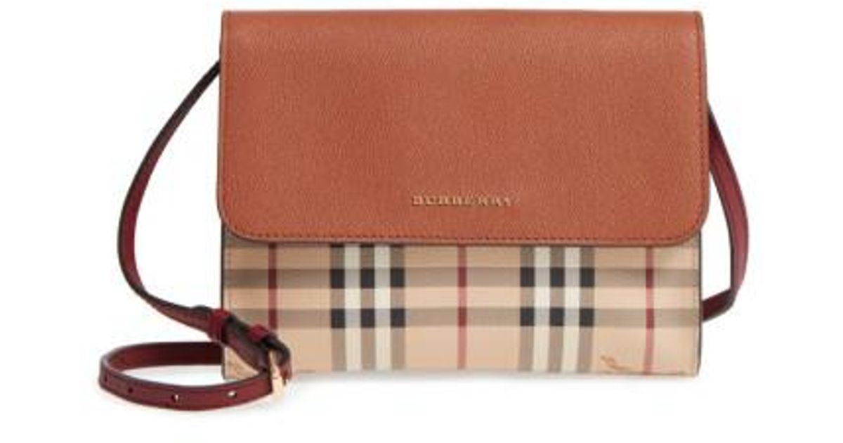f9b61e1c9f Lyst - Burberry Peyton Check Coated Canvas   Leather Crossbody Bag in Brown