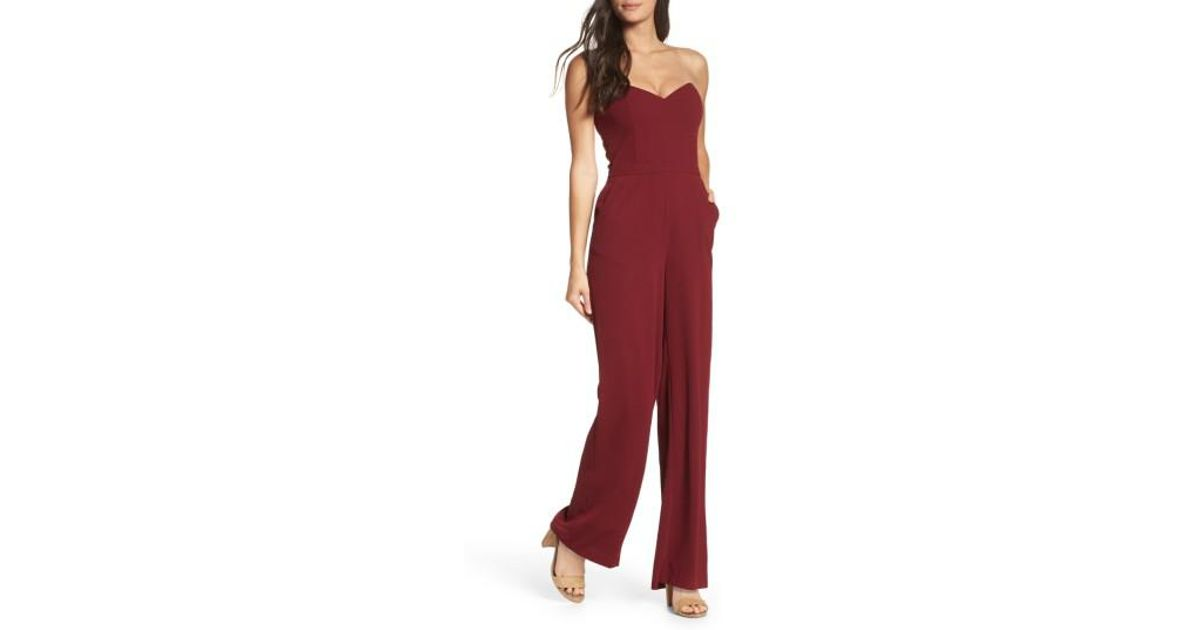 f5d7e732c051 Lyst - Greylin Elinda Strapless Jumpsuit in Red