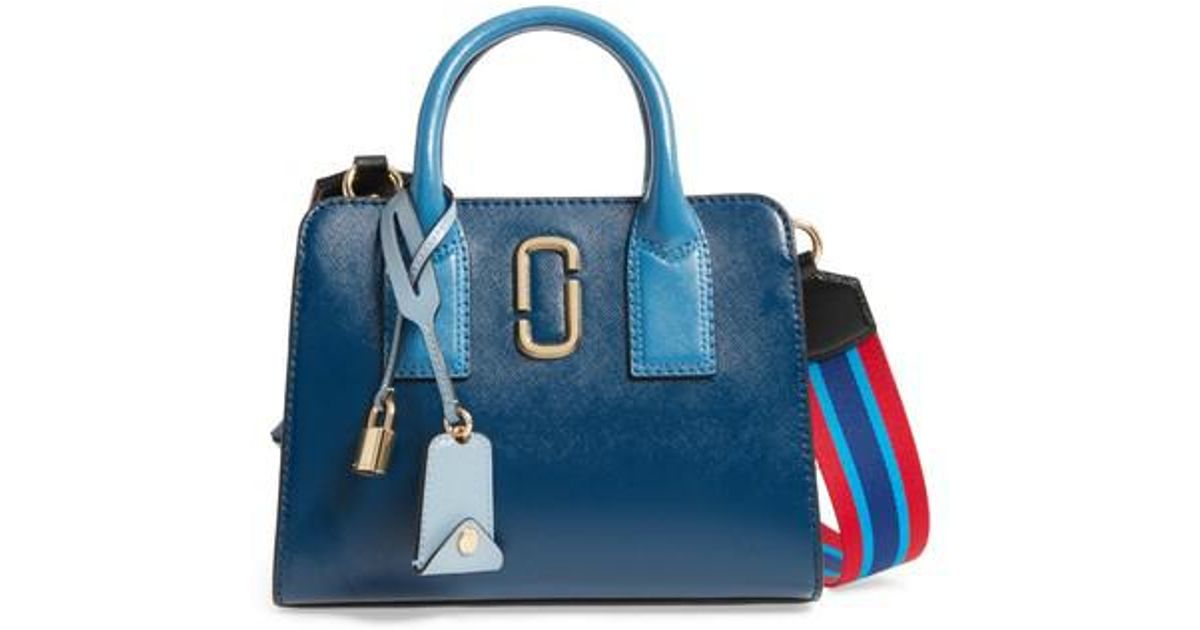 Lyst - Marc Jacobs Little Big Shot Leather Tote in Blue 353703b0ea0c1
