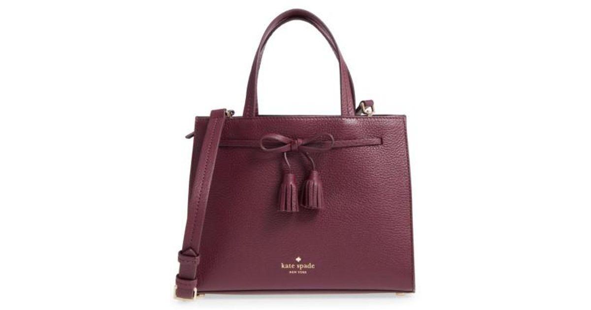 Lyst - Kate Spade Hayes Street Small Isobel Leather Satchel - Purple in  Black 585392c503adb