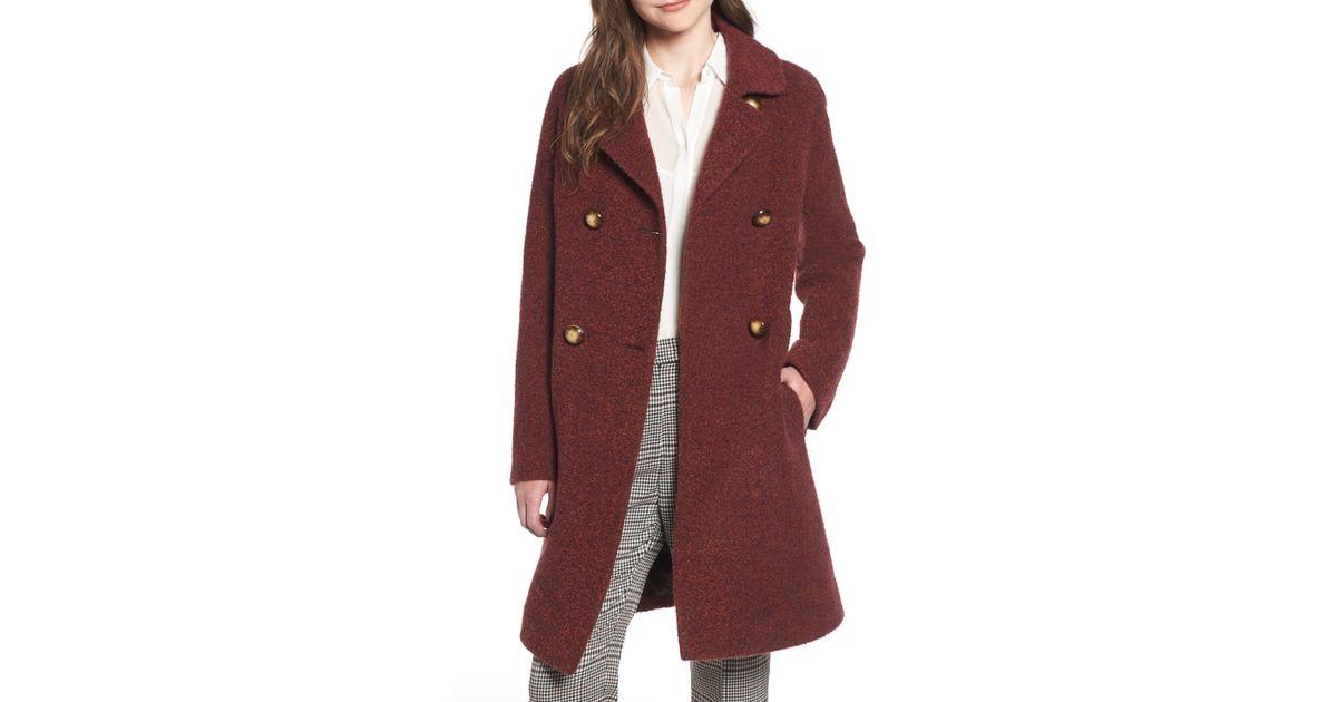 ec91b56e9aff4 Lyst - Fleurette Double Breasted Alpaca Blend Coat in Red - Save 52%
