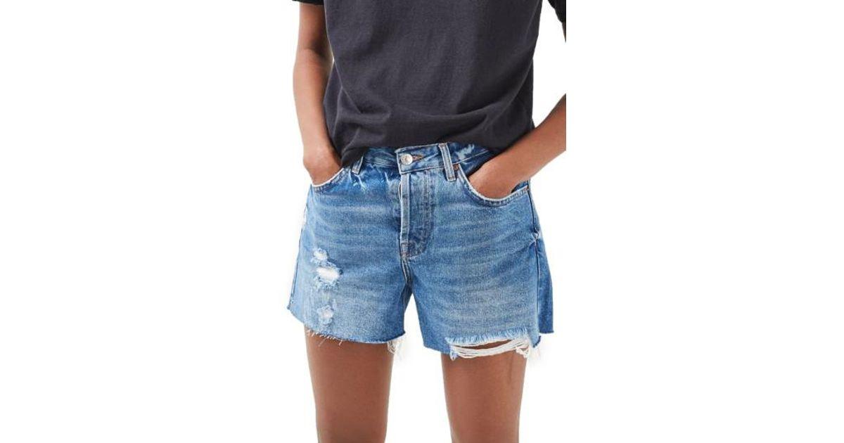 29b3f57ec7 TOPSHOP Ashley Ripped Boyfriend Shorts in Blue - Lyst