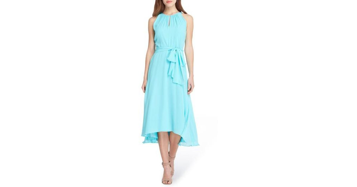 9563e7efe8b Lyst - Tahari Petite Size Halter Keyhole Midi Dress in Blue