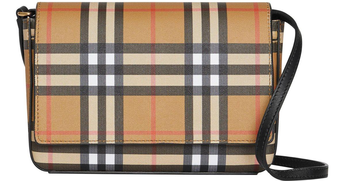 4b540398eb Lyst - Burberry Hampshire Vintage Check Crossbody Bag - - Save 7%