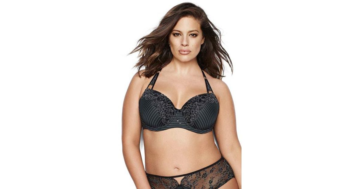 54bd6a08f8 Lyst - Ashley Graham Showstopper Underwire Balconette Bra in Black