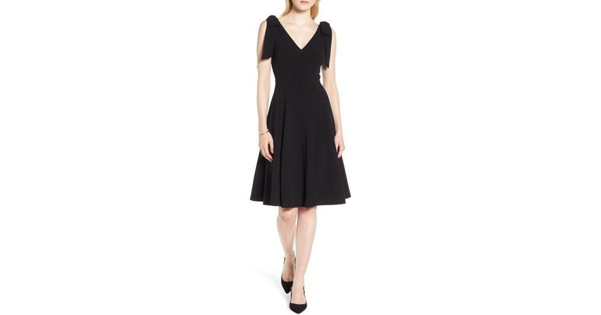 Lyst Nordstrom 1901 Tie Shoulder Fit Flare Dress In Black