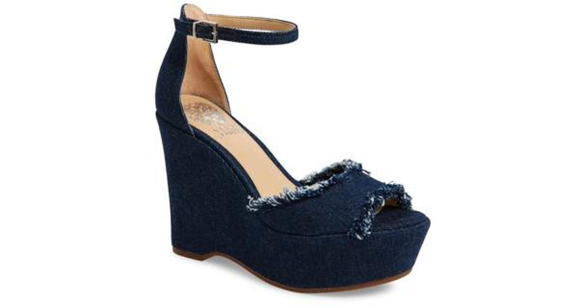 cf5b5f94a027 Lyst - Vince Camuto Tatchen Ankle Strap Platform Sandal in Blue