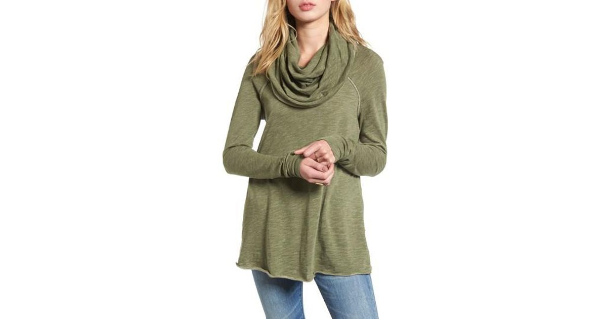 6cde90b5e2 Free People 'Beach Cocoon' Cowl Neck Pullover in Green - Lyst