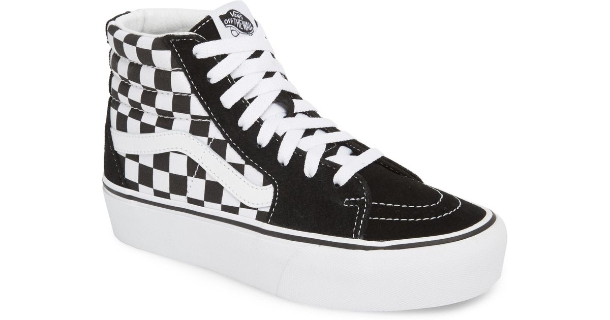 16913eb37d Lyst - Vans Ua Sk8-hi Platform Checkerboard Sneaker in White