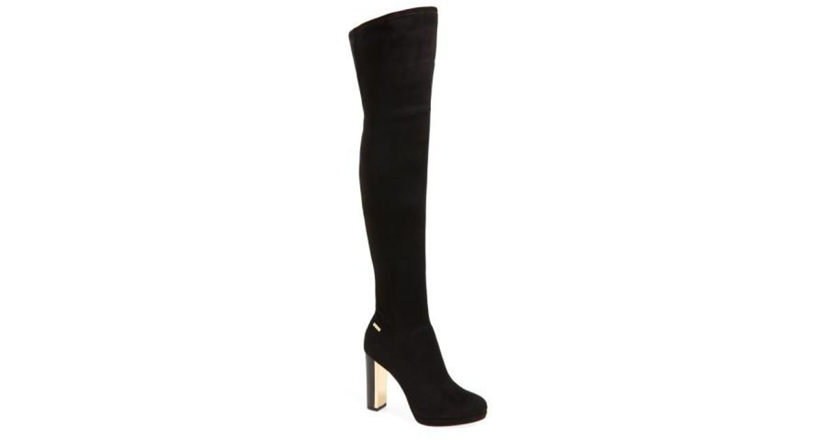 710c2e2894f Lyst - Calvin Klein  polomia  Platform Over The Knee Boot in Black