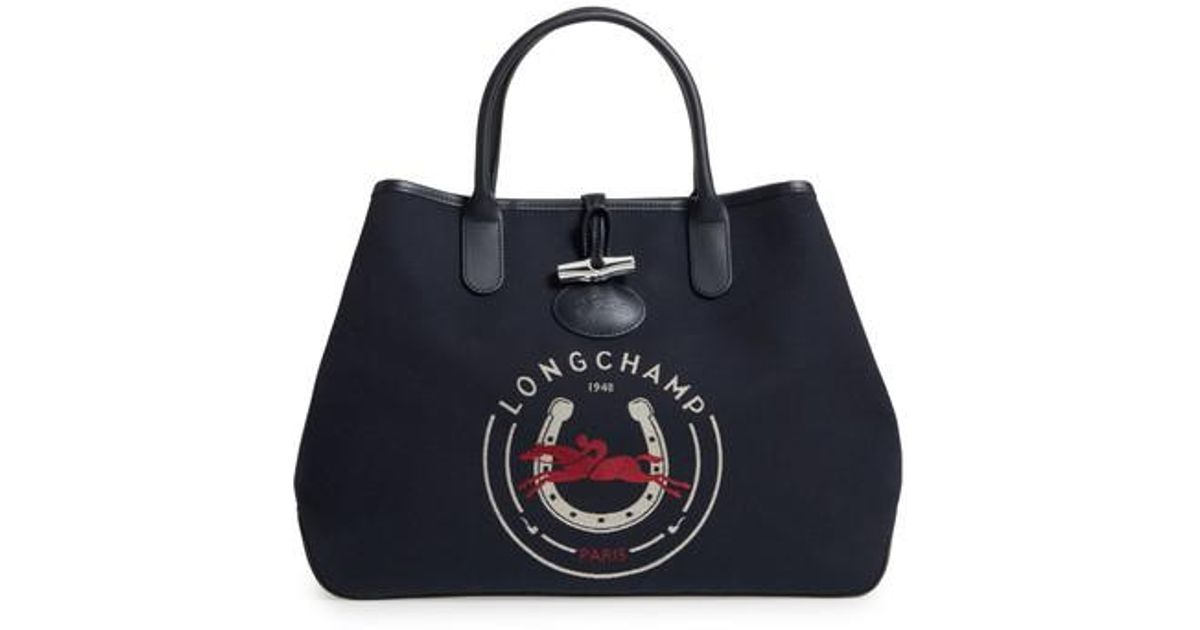 Lyst Longchamp Roseau 1948 Tote In Blue