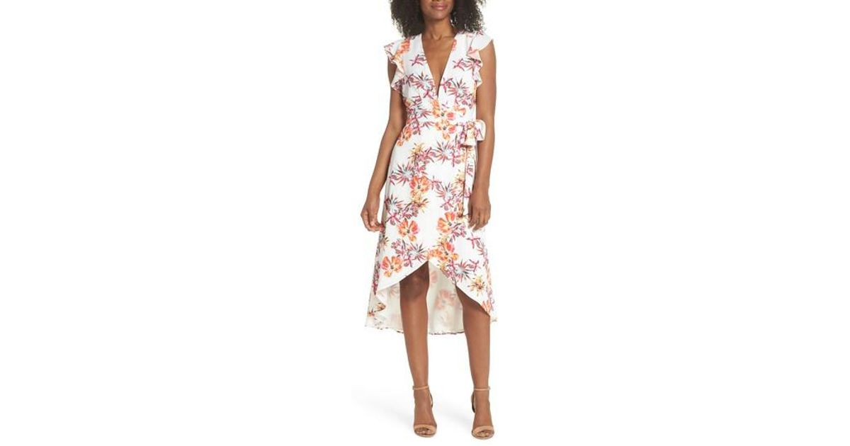 700f52bdee344 Lyst - Adelyn Rae Eloise High low Wrap Dress in White