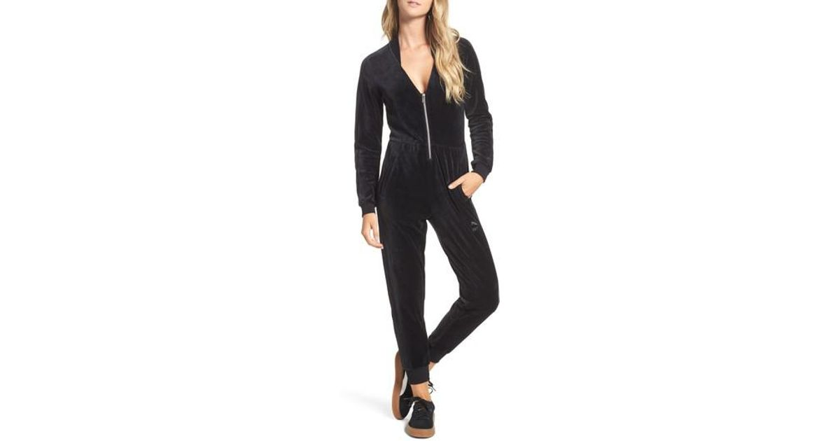 dcdc65fd30f PUMA Velour T7 Jumpsuit in Black - Lyst