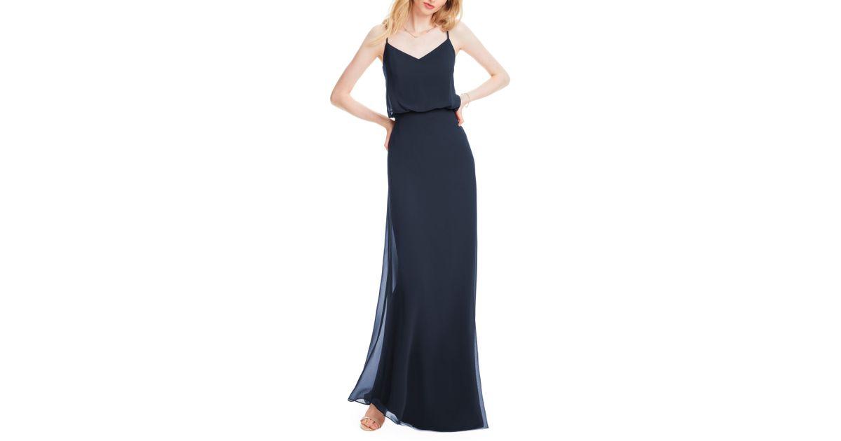 816916adf305 Lyst - Levkoff # Spaghetti Strap Chiffon Gown in Blue