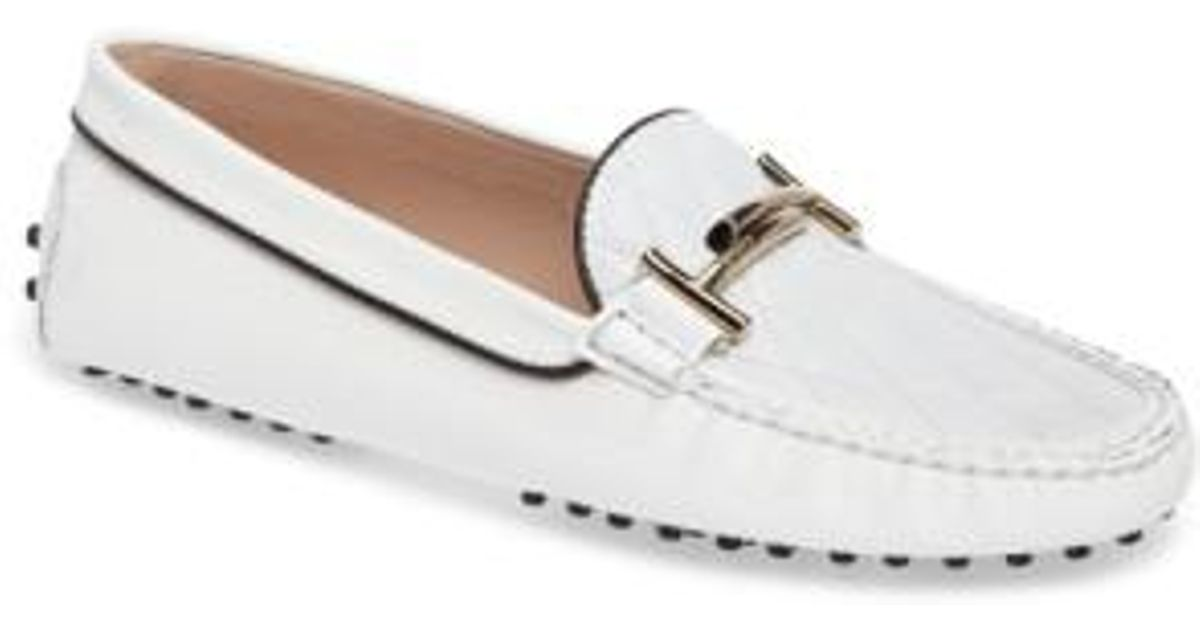 ceaead133e8 Lyst - Tod s Double T Quilted Gommino Loafer in White