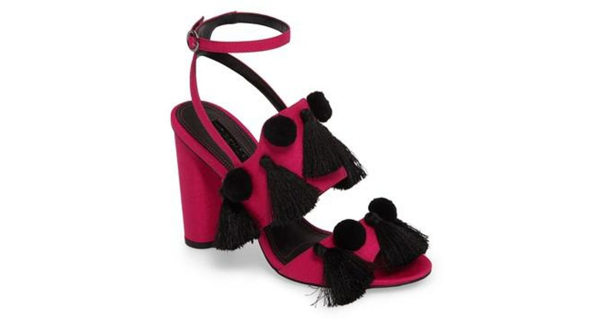 f1cb4e60f2a12 Lyst - TOPSHOP Rave Tasseled Pom Sandal in Pink