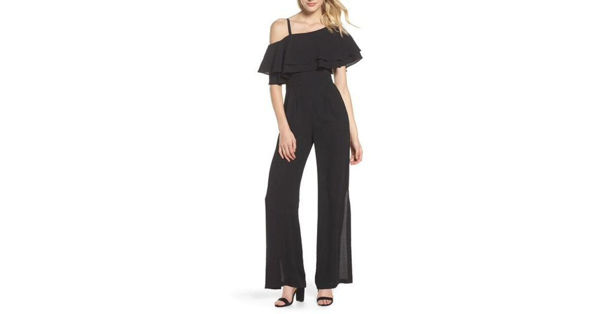 37f02cd55876 Lyst - Vince Camuto Moss One-shoulder Jumpsuit in Black