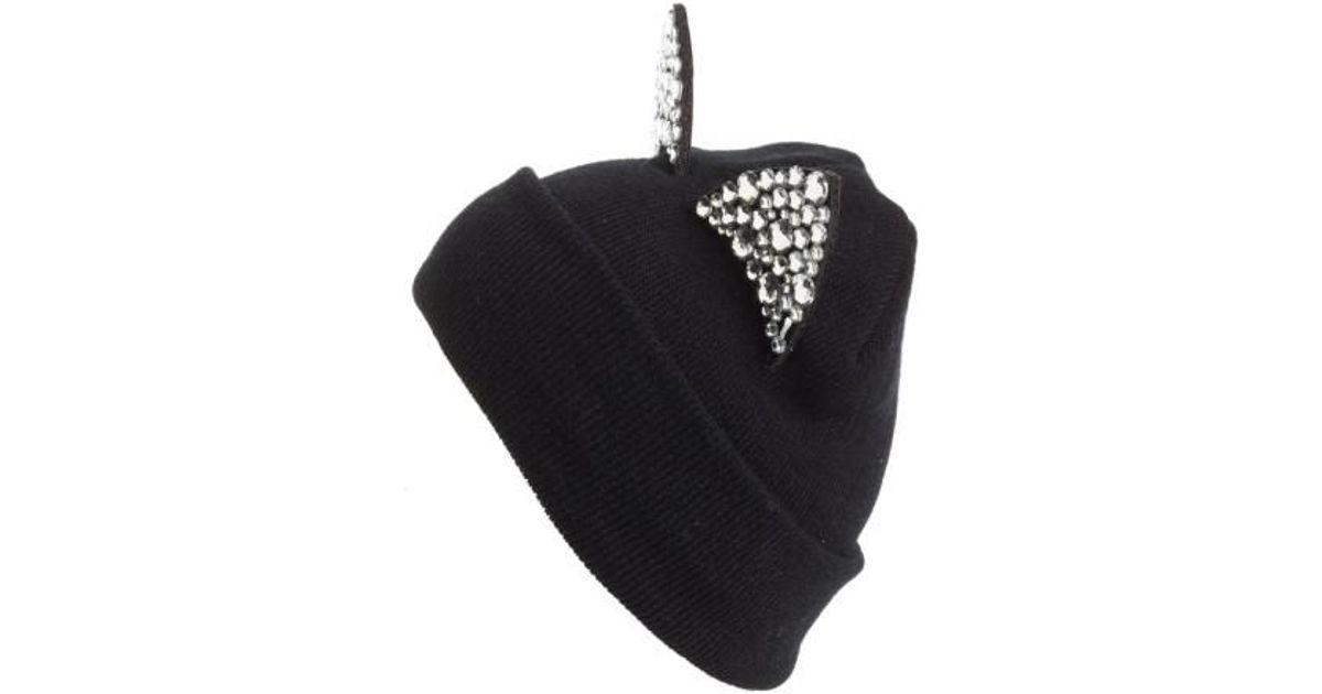 7dfffe3f64a Lyst - Tasha Jeweled Cat Ear Beanie in Black