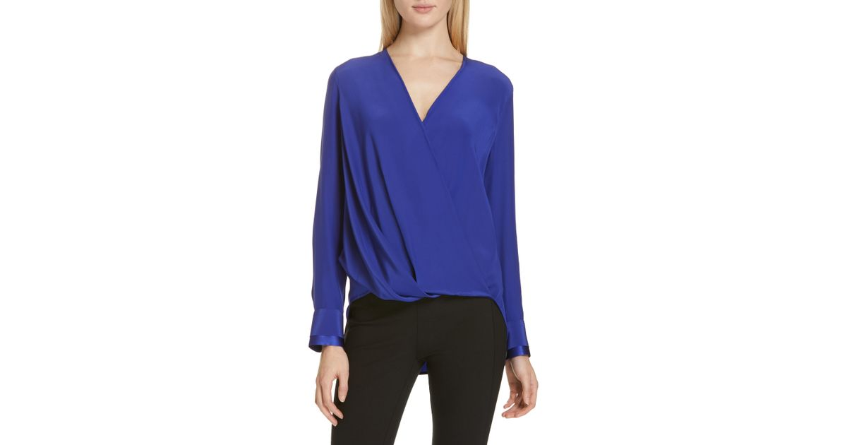 d27d463cff76b Lyst - Rag   Bone Victor Silk Blouse in Blue