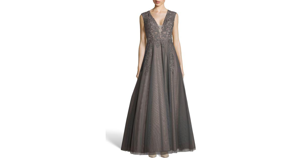 bf4c3799 Xscape Appliqué Mesh Evening Dress - Lyst