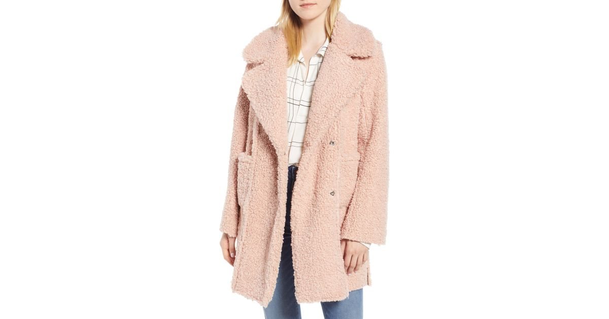 838c0a05b77 Lyst - Kenneth Cole Notch Collar Curly Faux Shearling Coat in Pink