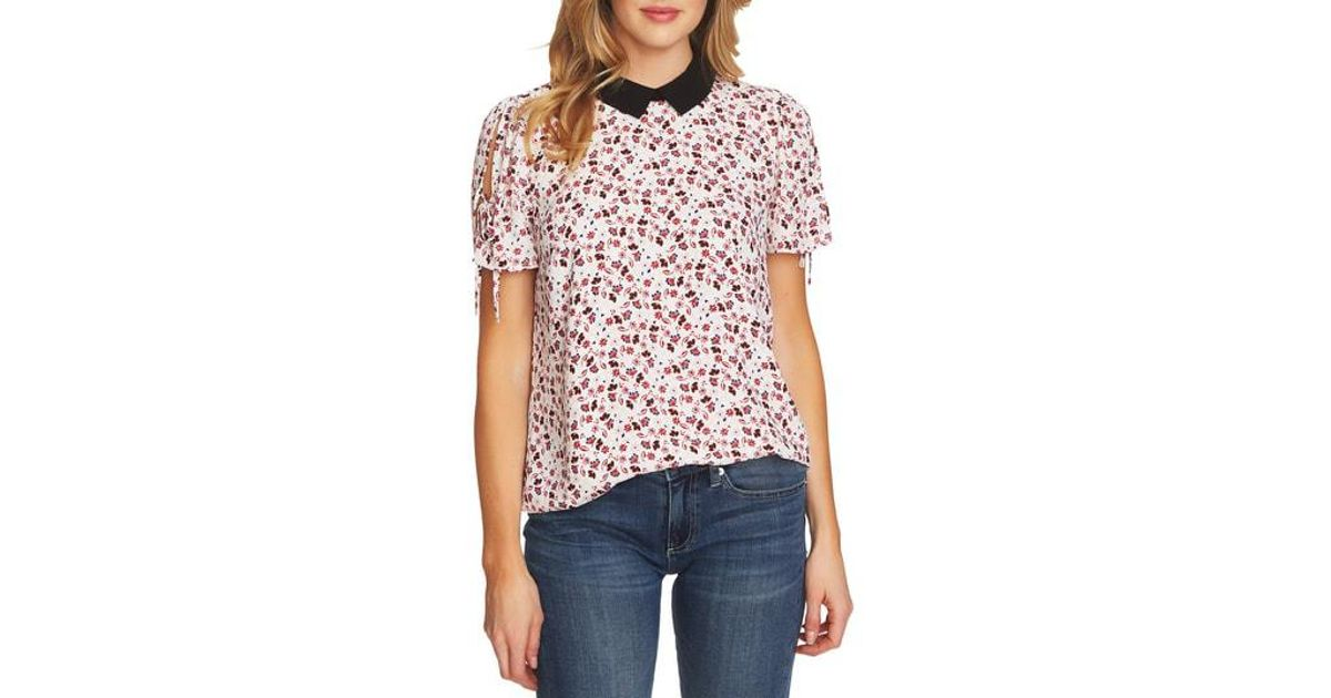 9507dbc83d3a0 Lyst - Cece Victoria Contrast Collar Tie Sleeve Floral Blouse