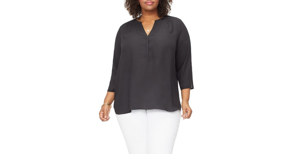 380ef72c4bf4b Lyst - NYDJ Curves 360 By Perfect Blouse in Black