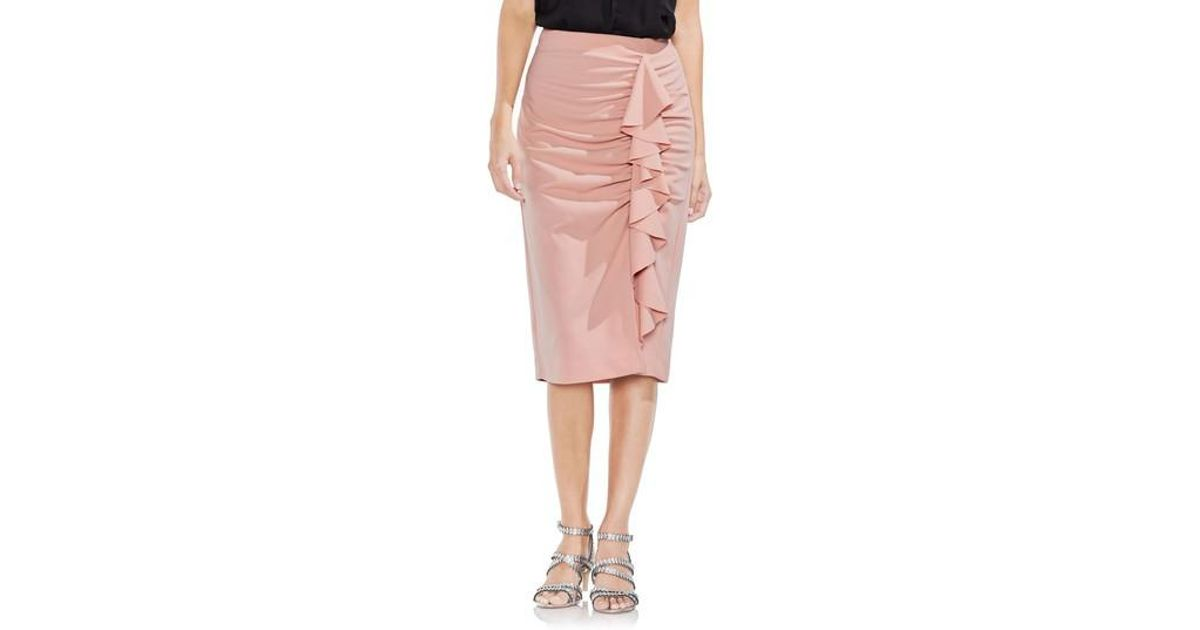 f985f8bde3 Lyst - Vince Camuto Ruffle Front Ponte Knit Pencil Skirt in Pink