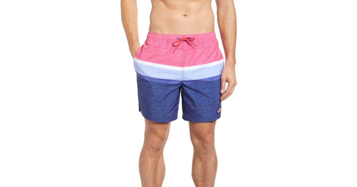 b70759ff28 Vineyard Vines Deck Stripe Chappy Swim Trunks in Blue for Men - Lyst
