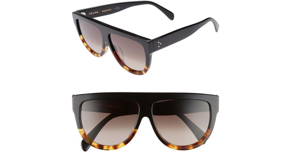 e280d8aeaa08 Lyst - Céline Céline 58mm Flat Top Sunglasses - in Black