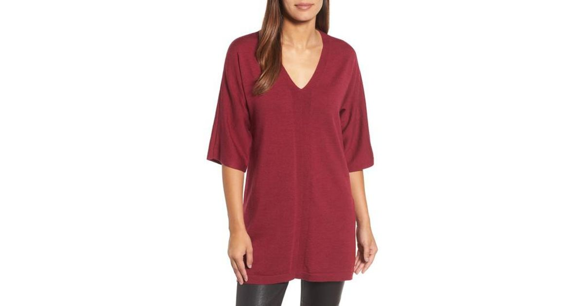 7cee5eaade8 Lyst - Eileen Fisher Merino Wool Tunic Sweater in Red