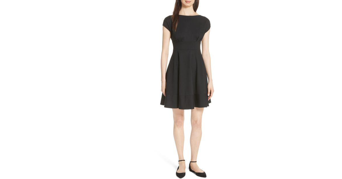 22ec164ab347 Lyst - Kate Spade Ponte Fiorella Fit & Flare Dress in Black