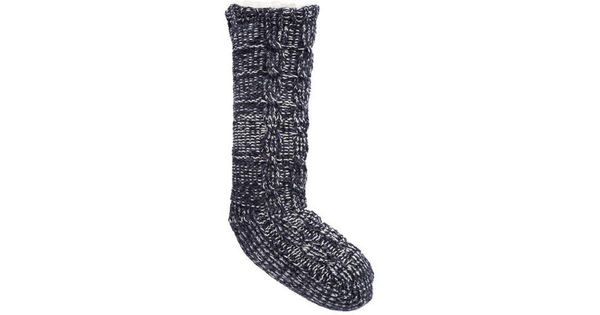 Make + model Cable Knit Slipper Socks in Blue | Lyst