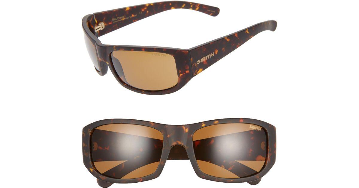 f3ac2d8c87 Lyst - Smith Bauhaus 59mm Chromapop(tm) Polarized Wraparound Sunglasses -  Dark Amber Tortoise in Brown